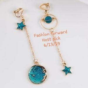 🎉HP🎉🆕️Gold long planet star CLIP ON earrings